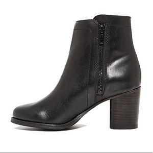 Frye Addie Black Leather Double-Zip Booties
